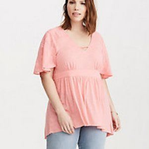 Torrid embroidered babydoll Pink top sz1
